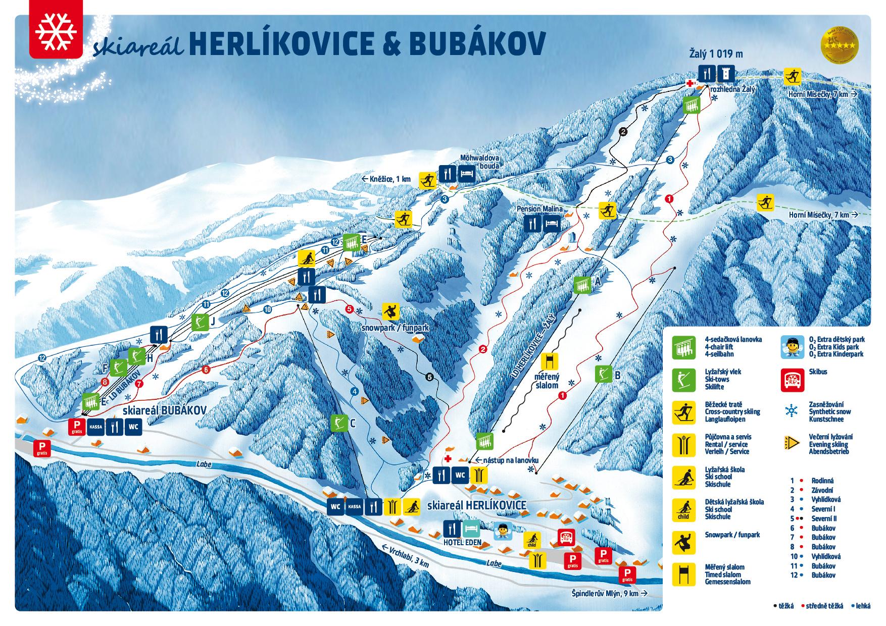 Herlíkovice a Bubákov - mapa ski areálu