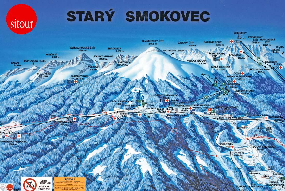 Mapa lyžařského areálu starý smokovec