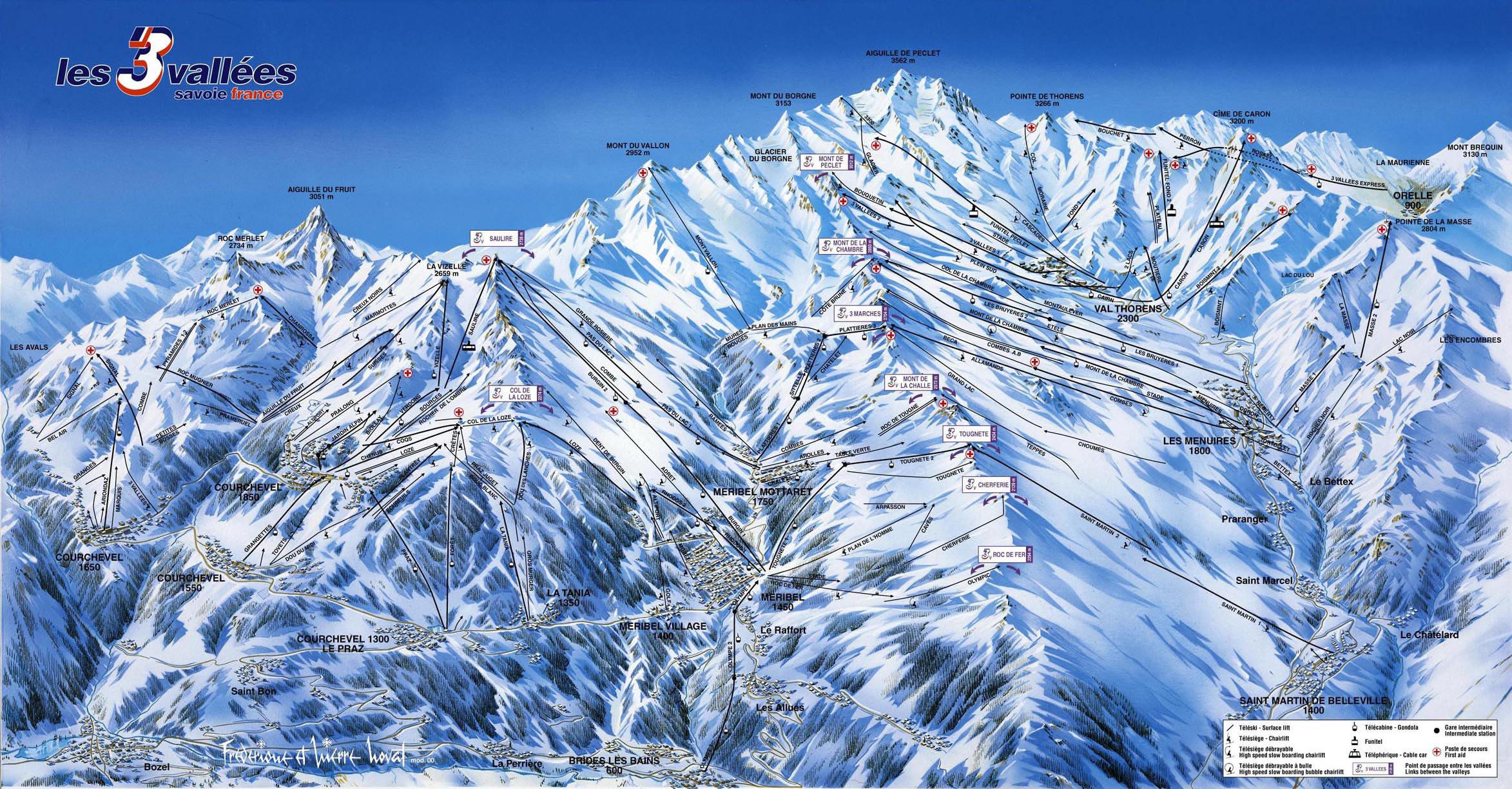 Courchevel ski mapa