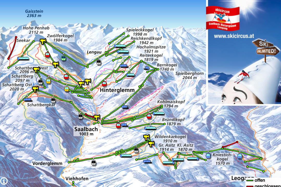 saalbach-hinterglemm-leogang-ski-mapa