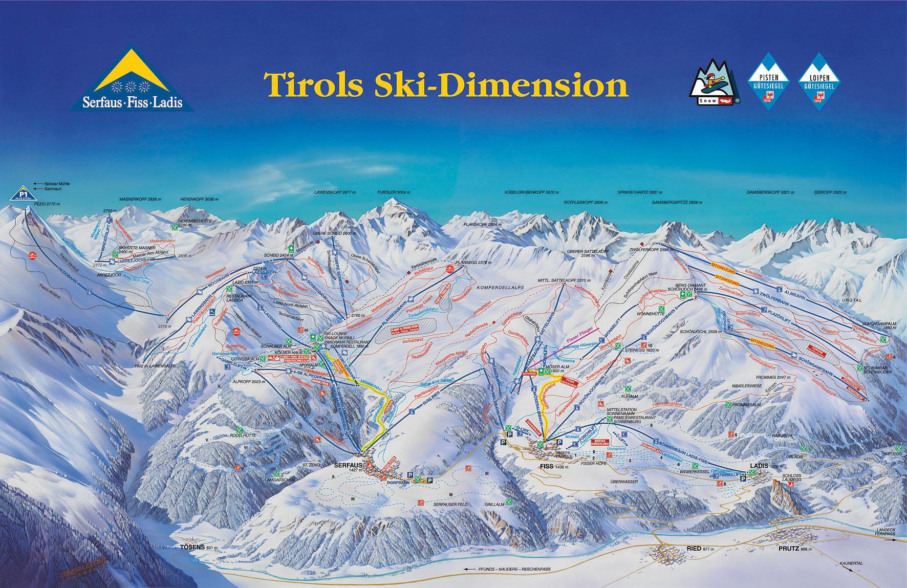 Serfaus-Fiss-Ladis ski mapa